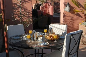 Breakfast on the roof terrace of a Riad Jonan in Marrakesh